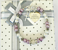 Engraved Baby Girl Personalised Christening Holy Communion bracelet 12 colours