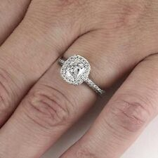 1.50 CT NATURAL CUSHION BRILLIANT DIAMOND ANTIQUE VINTAGE RING E VS2 PLATINUM