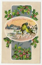 VINTAGE NEW YEAR GREETINGS POSTCARD BLUE YELLOW BIRDS ICY BRANCH HOUSE HOLLY