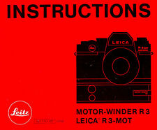 LEICA R3-MOT CAMERA MOTOR WINDER INSTRUCTION MANUAL --from 1970s--LEICA R3-MOT