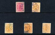 FINLAND 1875-89 COLOURED CANCELS...20,25 PENNI...x 5