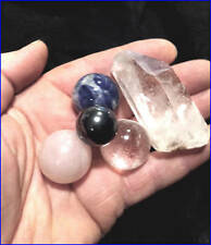 4 Crystal Ball 25m Spheres  Blue Sodalite - Quartz and  Rose Crystal + Hematite