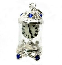 STERLING SILVER JEWELLED BLUE CARRIAGE CLOCK CHARM