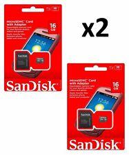 2xNew microSDHC SanDisk 16GB SDQM microSD with Adapter SDSDQM-016G-B35A (2 pcs.)