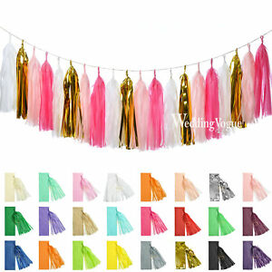 5pcs Tissue Paper Tassels Garlands Bunting Wedding Party Balloon Baby Show Decor