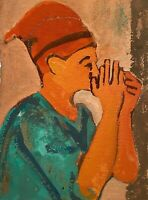 VINTAGE MODERNIST FIGURE PORTRAIT STUDY MIXED MEDIA PAINTING ON PAPER