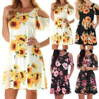 Womens Summer Cold Shoulder Floral Mini Dress Party Sunflower Boho Sundress S-XL