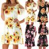 Damen Kurzarm Shirtkleid Sommerkleid Strand Kleid Minikleid Blumen Mit Taschen