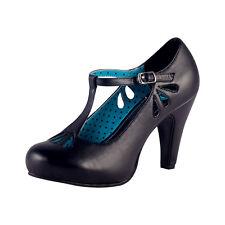 TUK LA FEMME HEEL BLACK T STRAP SCALLOP CUT OUT Ladies Size UK3/EU36 A8180L