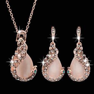Women Rhinestone Exquisite Jewelry Set Waterdrop Pendant Necklace Earrings Chain