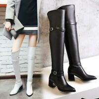 US4-13 Women Mid Block Heel Pointed toe Over Knee High Boots Combat Knight Shoes
