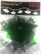 Graduation Hat Green Silver WIRE GARLAND 9 FT. Grad Party Decoration         5-5