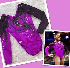 Gk Elite Leotard Gymnastics Purple Bling Swarovski Rhinestone Competition Sz Cl
