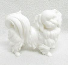 Vtg White Glass Pekingese Dog Decoration Figurine