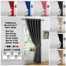 Insulated Thick Thermal Blackout Door Curtains Pair Eyelet Ring Top + Tie Backs
