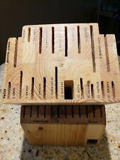 New listing New Ronco Six Star Cutlery 30 Slot Knife Block Solid Wood Labeled Slot Honey Oak
