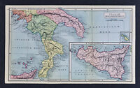 1908 Classical Map Ancient Italia South Italy Sicily Syracuse Pompeii Vesuvius