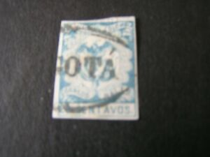 COLOMBIA, SCOTT # 47, 20c. VALUE LIGHT BLUE 1866 COAT OF ARMS IMPERF ISSUE USED