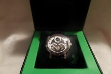 Croton Men's Imperial CI331042bsbk Black Leather Watch NIB Retail $750.00