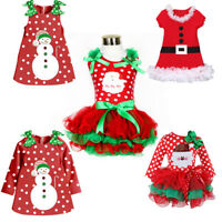 New Santa Baby Girls Dress Toddler Top Tutu Skirt Christmas Party Kids Clothes