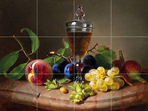 glass of wine and fruits Tile Mural Kitchen Bathroom Backsplash Marble Ceramic