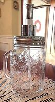 Garden Gate Mason Canning Mug Jar Soap Pump Dispenser Handle Clear Glass New
