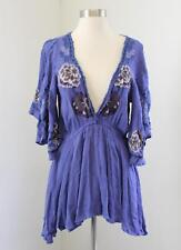Free People Cora Purple Embroidered Tunic Mini Dress Floral V-Neck Festival XS