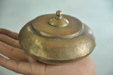 1940's Old Brass Disc Shape Handcrafted Unique Tobacco Powder Box