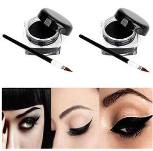 2pcs Waterproof Black Eye Liner Eyeliner Shadow Gel Makeup Cosmetic + Brush UK
