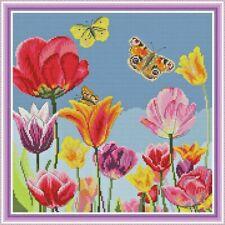 Beautiful Tulips Counted Cross Stitch Kit 14ct aida 37x37cm I Free P&P