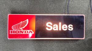 Honda dealer sales illuminated sign genuine rare workshop collectors man-cave