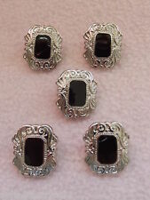 5 x BLACK & SILVER COLOURED ART DECO STYLE OBLONG BUTTONS ~ 36L (approx 21mm)