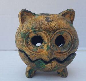 Folk Art Owl Metal 2pc Sculpture Figurine Green Gold Hollow Eye Zig Zag Bronze