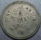 """1903 ACKLEY, IOWA """"Good For 25¢"""" DENTEL JOHNSON & REINKE Dry Goods & Shoes TOKEN"""