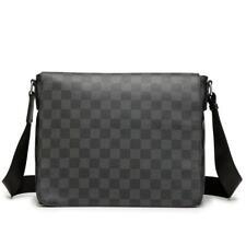 Microfiber Plaid Messenger Bag Leather Shoulder Purse Ipad handbag Black