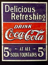Drink Coke Coca Cola TIN SIGN 5 Cent Rustic Vtg Metal Wall Decor Soda Fountains