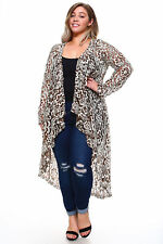 Womens Plus Size 2X Brown, Ivory Long LACE Cardigan Hi Lo Draping WearOrGoBare