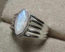 925 sterling silver cut rainbow moonstone ring UK O-O½/US 7-7.5. Gift bag