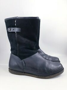 Just Sheepskin size 7 (40) black leather / suede wool fleece lined ankle boots