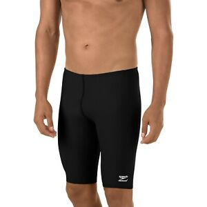 SPEEDO ENDURANCE+ SOLID JAMMER Mens Size 38 Black Performance Long Swim Short