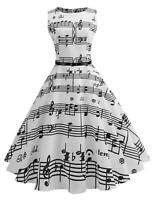 Women Vintage Style O-Neck Sleeveless Music Note Printing Swing Party Dres