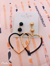 BN Kate Spade Gold/black Big Hoops Earrings