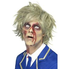 Mens Zombie Wig Short & Messy Grey Scary Halloween Fancy Dress Wig