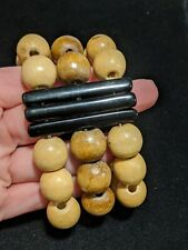 Distressed Natural Tone Wooden Bead Black Panel Stretch Wide Bracelet Boho