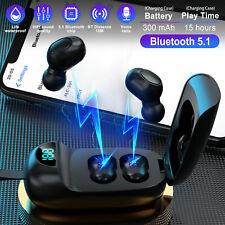 Bluetooth 5.1 Earbud Wireless Earphone Stereo Bass Waterproof for iPhone Samsung