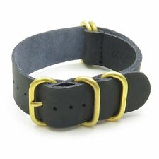 StrapsCo Leather Military Wrap Watch Band Strap in Black w/ Solid Bronze Rings