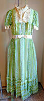 Green Floral Sheer Prairie Boho XS to S Vintage Lace Ruffle Maxi Festival Dress