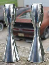 Nambe alloy metal candlestick set 6025 MCM mid century modern 5 1/2 Karim Rashid