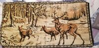 "Vtg STAG/DEER/ELK in SNOW WOODS 19"" x 39"" WALL TAPESTRY RUG Velvet MADE in ITALY"