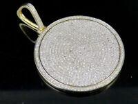 1.75 Mens 10K Yellow Gold Over Round Cut Diamond Medallion Pendant Charm